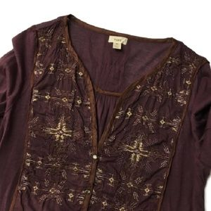 Anthropologie TINY embroidered boho top M